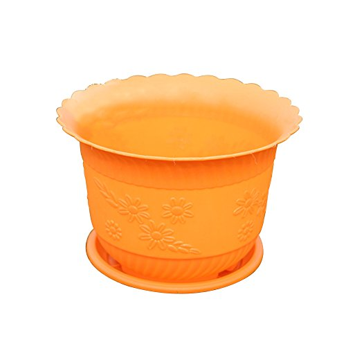 Xuxuou 1 Pcs Wave Pattern Flower Pot Mini Garden Decor Resin Office Home Decorations(Orange)