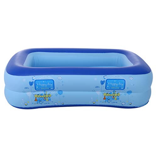 TKI-S Infant Square Pool PVC Inflatable Family Swimming Center Ocean World Children's Independence 2 Level Pool 43.3×35.4×13.8 in Blue