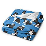 """WdRaIn Border Collie Dog Cute Blanket Flannel Fleece Blanket Soft Microfiber Blanket for Sofa Office Bed and Travelling 60""""x50"""" 7"""