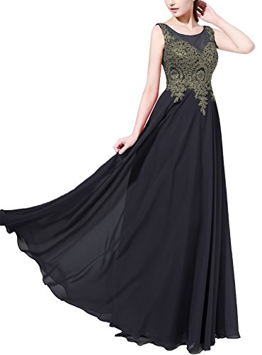 Rongstore Women's Chiffon Long Appliques Formal Evening Prom Dresses
