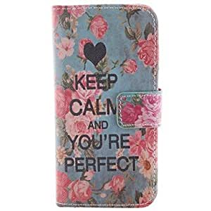 SHOUJIKE Keep Calm and You Re Perfect Project PU Leather Case with Card Slot and Stand for iPhone 5
