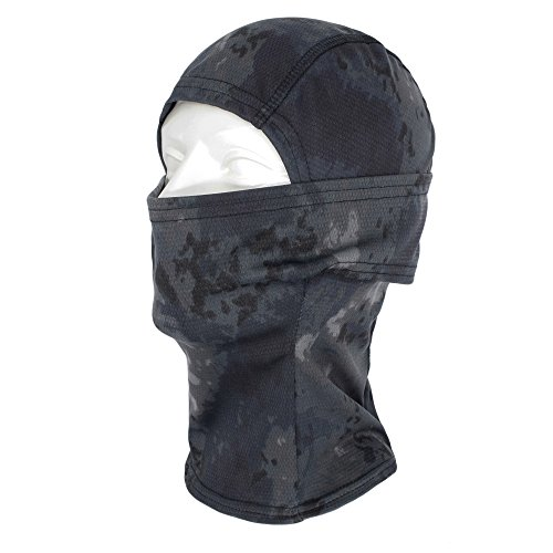 TClian Camouflage Balaclava Hood Ninja Headwear Breathable & Lightweight Outdoor Cycling Motorcycle Hunting Military Tactical Helmet Liner Gear Full Face Mask (Black)