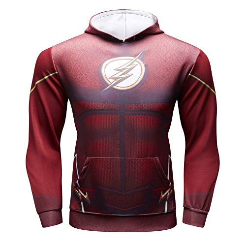 (Superhero FL Compression Shirt Mens Dri fit Gym Top Pullover Costume with HoodL)