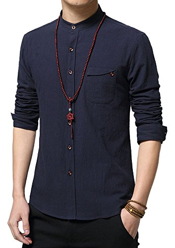 Plaid&Plain Men's Slim Fit Long Sleeve Banded Collar Solid Linen Shirts D-Blue L - Mandarin Collar