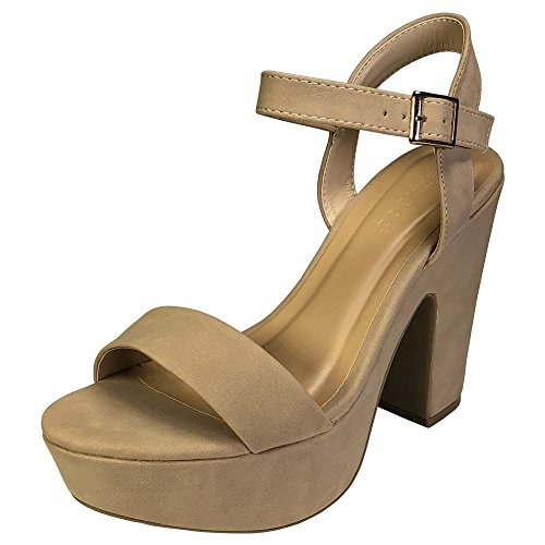 BAMBOO Women's One Band Chunky Heel Platform Sandal with Quarter Strap, Natural Nubuck PU, 8.0 B (M) US
