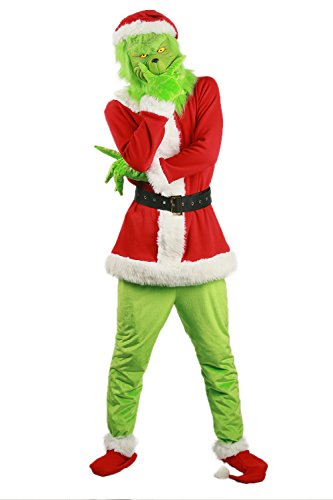 Grinch Santa Christmas Costume Outfit Suit for Adult (Grinch Adult Costumes)