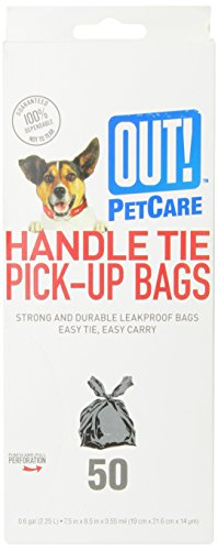 - OUT! Handle Tie Dog Waste Bags, 7.5x8.5 in, 50 bags