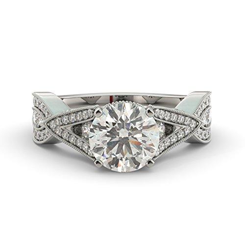 2.55 dwt Round Cut Charles & Colvard Forever One Moissanite & Diamond Vintage V Shape Split Unique Engagement Ring 14k White Rose Yellow Gold