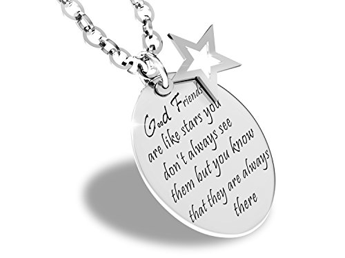 EOVE Good Friends are Like Stars Inspirational Friendship Quotes Necklace Stainless Steel Charm - Star Necklace Contemporary