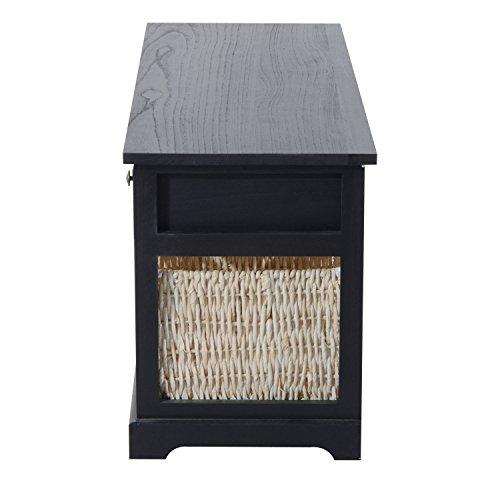 HomCom 40'' 3-Drawer 3-Basket Storage Bench - Antique Black by HOMCOM (Image #4)