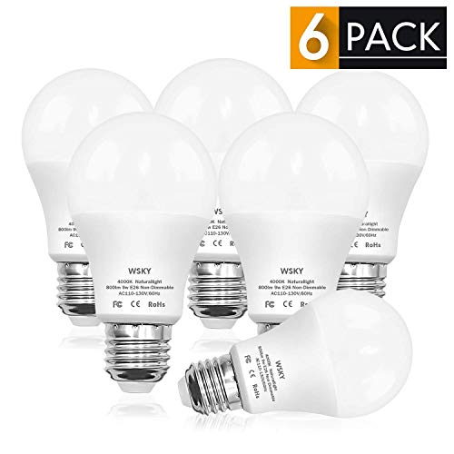 Energy Saving Natural - Wsky 80W Equivalent LED Light Bulb, A19 Frosted 4000K (Natural Light) 270° Beam Angle CRI90+, Efficient 9W E26 Base for Restaurant, Home, Reading Room, Office, Pack of 6 …