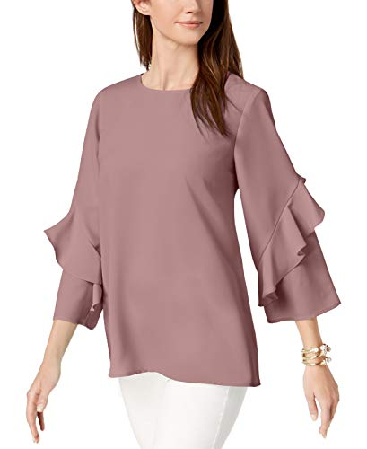 Alfani Ruffled-Sleeve Zip-Back Top - Lt/paspink ()