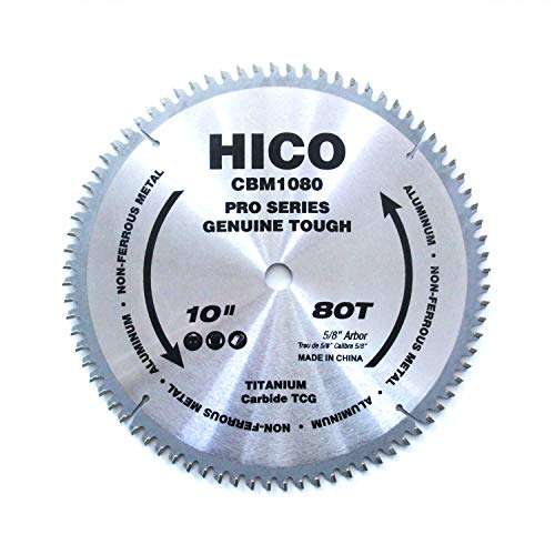 - HICO 10-Inch 80-Tooth TCG Aluminum and Non-Ferrous Metal Saw Blade with 5/8-Inch Arbor, Metal-Cutting Circular Saw Blade
