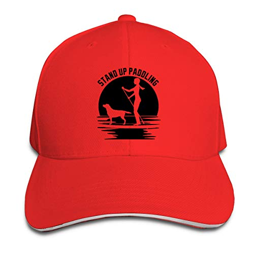 Stand Up Paddle Board Adjustable Sandwich Hats Durable Baseball Cap Hats Red ()