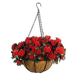 Mynse Set of Artificial Azalea Flower Hanging Flowerpot with Chain Indoor Decor Hanging Basket with Artificial Rhododendron Red (A Small Basket)