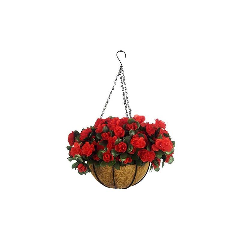 silk flower arrangements mynse set of artificial azalea flower hanging flowerpot with chain indoor decor hanging basket with artificial rhododendron red (a small basket)