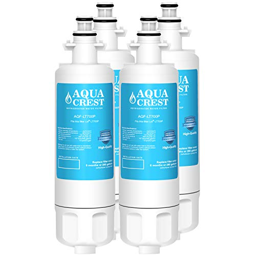 AQUACREST Refrigerator Water Filter, Compatible with LG LT700P, Kenmore 9690, 46-9690, ADQ36006101, ADQ36006102 (Pack of 4)