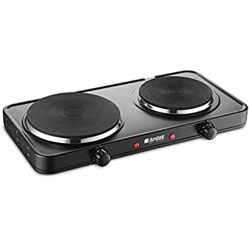 Durabold Kitchen Countertop Cast-Iron Double Burner - Stainless Steel Body – Sealed Burners - Ideal for RV, Small Apartments, Camping, ...