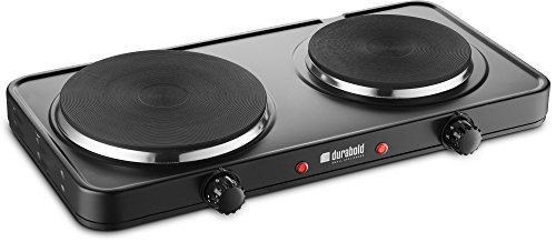 Durabold Kitchen Countertop Cast-Iron Double Burner - Stainless Steel Body - Sealed Burners - Ideal for RV, Small Apartments, Camping, Cookery Demonstrations, or as an Extra Burner (Basic)