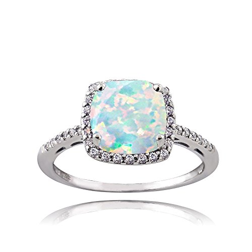 Ice Gems Sterling Silver Created Opal and Cubic Zirconia Cushion-Cut Halo Ring, Size 6 Cushion Cut Opal Ring