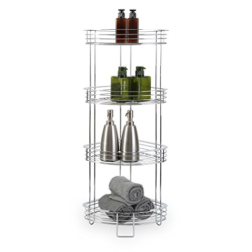 BINO 'Luxe' 4-Tier Corner Spa Tower, (Chrome Bathtub Shelf)