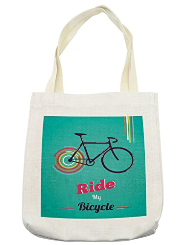 Ambesonne Vintage Tote Bag, Ride My Bicycle Theme Poster Style Retro Bike Hipster Art Illustration, Cloth Linen Reusable Bag for Shopping Groceries Books Beach Travel & More, Cream (Tote Bicycle)