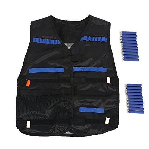 Kids Chaleco Táctico Kit para Pistolas de Nerf N-strike Elite serie con 20pcs Bullet Dardos, Negro (black Nylon)