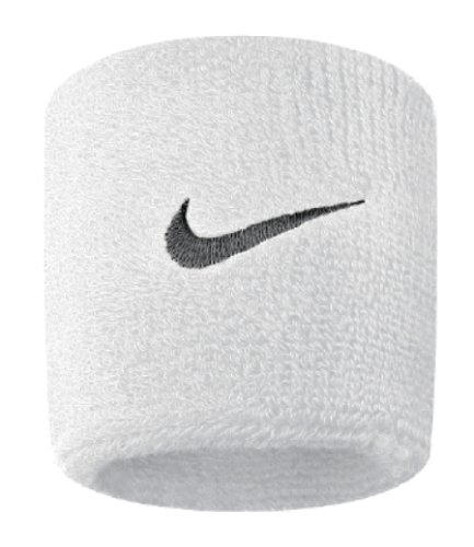 Nike Swoosh Wristbands (White/Black, Osfm) - Nike Womens Tennis