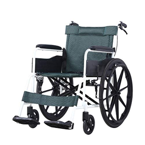 NKDK Wheelchair Portable and Portable Thick Aluminum Wheelchair (Material : A)