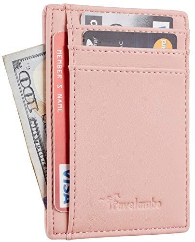 - Travelambo Front Pocket Minimalist Leather Slim Wallet RFID Blocking Medium Size(Vipor Pink)