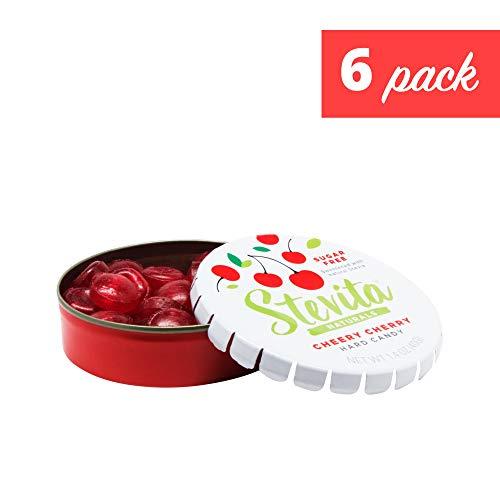 Stevita Stevia Sweet Candy Natural Cherry Flavor (6 Pack) - 1.4 Ounces - Sugar Free Hard Candy, Stevia Sweetened - USDA Organic, Non GMO, Kosher, Keto, Paleo, Gluten-Free - 156 Servings