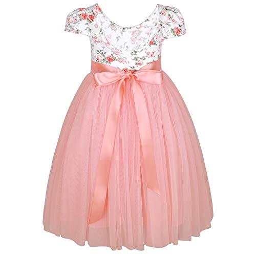 Flofallzique Long Sleeve Easter Girl Dress Vintage Floral Tulle Princess Toddler Girls Clothes (12, Cap- Pink)