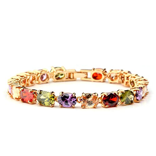 Women Gold Plated Charm Bracelet Rainbow Cubic Zirconia Round 17CM Bangle Bracelet for Women by Aienid