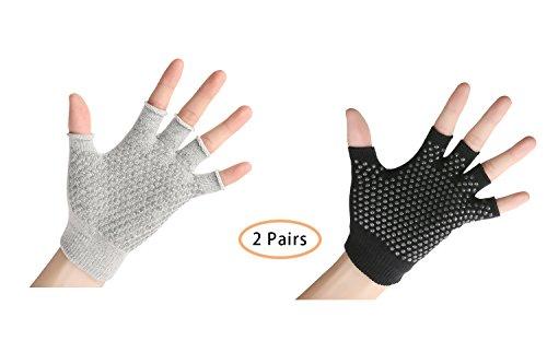 YL trd 2 Pairs of Non Slip Fingerless Yoga Gloves Training Exercises Grip Gloves – DiZiSports Store