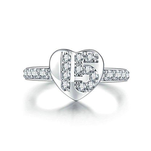 AMDXD Jewelry Womens Anniversary Rings Heart Arrow White Cubic Zirconia Bridal Wedding Rings Size (Wrap Mirror Spring Bracelet)