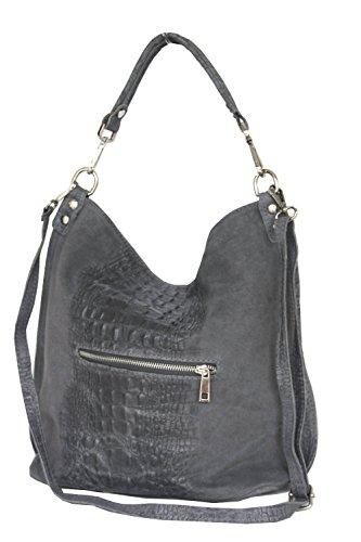 Sac portés épaule, sacs fourre-tout pour femme, Mod. 2107 cuir facon croco, Italy Rouge