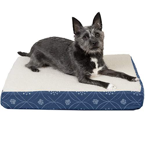 Furhaven Pet Dog Bed | Deluxe Orthopedic Faux Sheepskin Mattress Pet Bed for Dogs & Cats, Twilight Blue, (Sheepskin Orthopedic Foam)