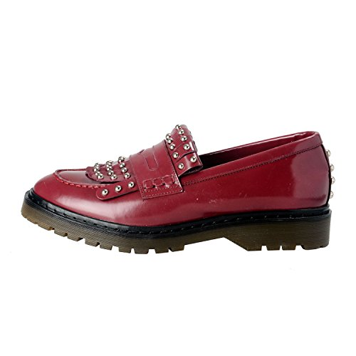 Röd Valentino Kvinna Läder Plattformar Dekorerade Loafers Skor Oss 9 Den 40