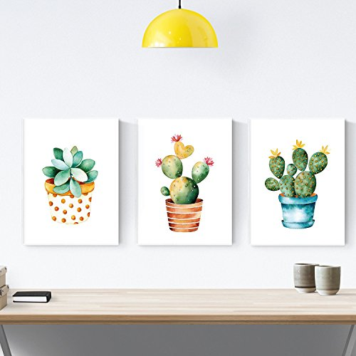 Pack of 3 Sheets for framing cactus. Style Watercolor. Home Decor. Printed on Paper 250 Grams and Resistant Inks. by Nacnic