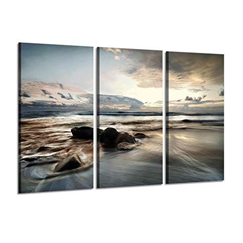 Seascape Arts Coastal Landscape Picture: Evening Coastline and Beach Photographic Print Multi-Piece Image on Canvas Set for Walls Decoration (View Art Wall Coastal)