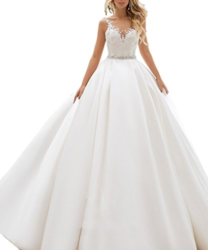 - Nicefashion Women's Vintage Double V Neck Beaded Lace A Line Church Wedding Dress with Chapel Train White US2