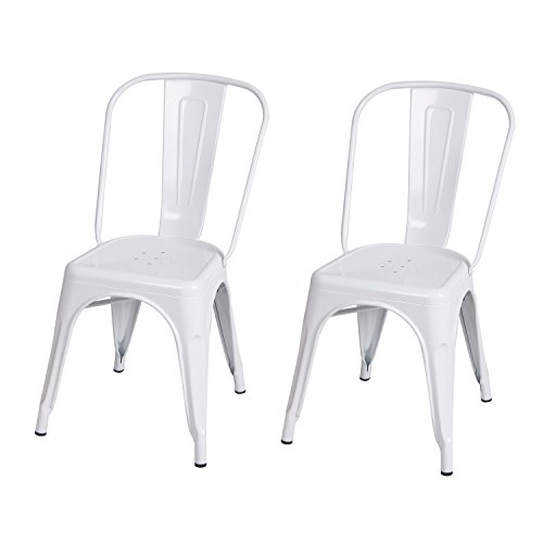 2016 NEW ARRIVAL! Adeco Metal Stackable Industrial Chic Dining Bistro Cafe side Chairs, Glossy White, Set of 2 (Outdoor White Dining Chairs compare prices)