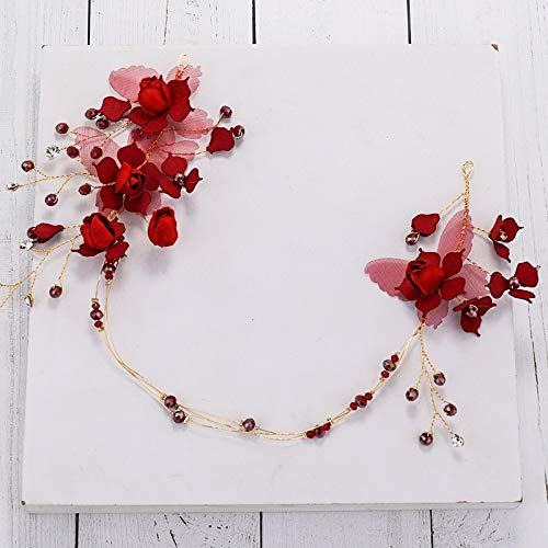 Burgundy Elegant Handmade Yarn Rose Flower Headband Deep ​​Red Silk Butterfly Copper Hair Grapes Crystal Crown Tiara Diadem ()