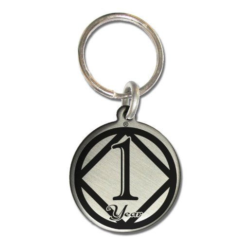 1 Year NA Narcotics Anonymous Anniversary Medallion Keychain for Clean Birthday with 3rd Step Prayer