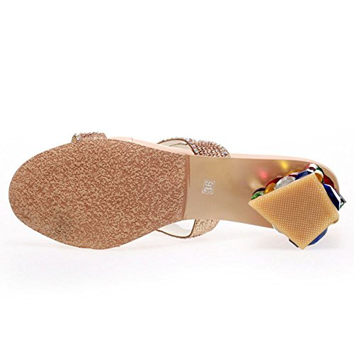 Sandali Mules Tacco Slides a Zanpa Moda Donne gold Blocco 2 0xS7A