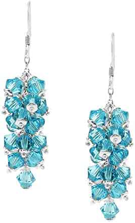 fec1c52a8 Swarovski Earrings Chandelier Dangle Sterling Silver March Birthstone Aquamarine  Color for Women and Girls