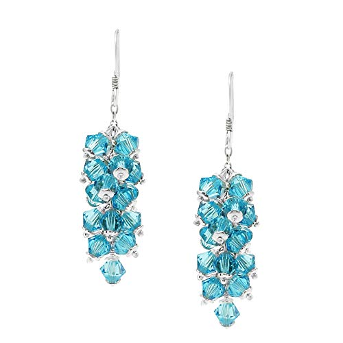 Swarovski Earrings Chandelier Dangle Sterling Silver March Birthstone Aquamarine Color for Women and Girls