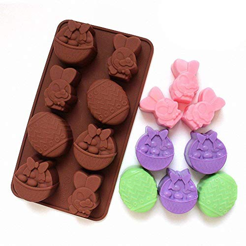 2-Pack Easter Egg and Bunny Mold - MoldFun Giant Easter Silicone Mold for Jello, Ice Cube, Chocolate, Candy, Baking Muffin Cake Cupcake, Soap, Bath Bomb, Lotion Bar -