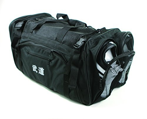 "Martial Arts, Bag with Mesh Top/pocket 13""x27""x14"" Boxing, MMA,Taekwondo Deluxe Equipment Bag, Black"