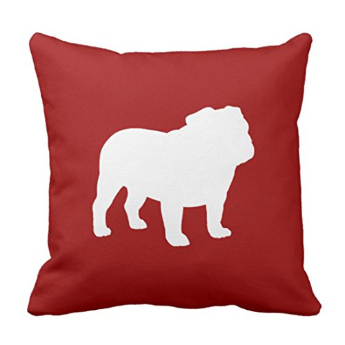Bulldog Toss Pillow - Emvency Throw Pillow Cover Pets White Bulldog Silhouette on Red Animals Decorative Pillow Case Home Decor Square 18 x 18 Inch Pillowcase